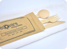 4 Piece Packaged Wooden Cutlery Set
